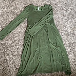 Olive green, long sleeve dress, never worn before.